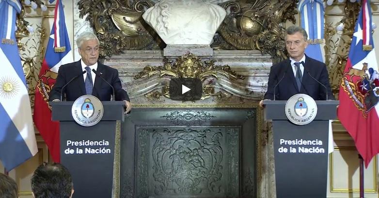 """Piñera y Macri: """"Enviamos a los Congresos el proyecto de Liberalización comercial"""""""