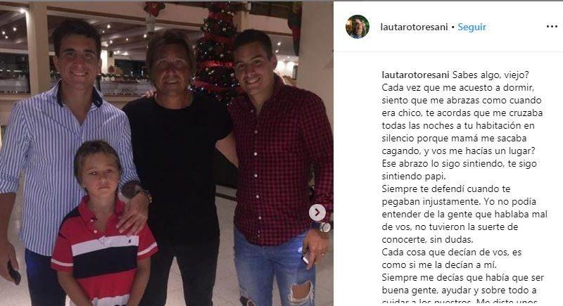 """El emotivo mensaje de Lautaro, el hijo del """"Huevo"""" Toresani"""